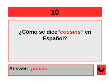 SPANISH JEOPARDY POWERPOINT GAME