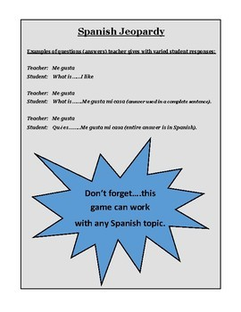 SPANISH JEOPARDY  Verb Conjugation Test Review  Parts of Speech