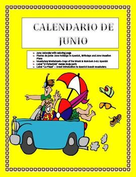 La Fecha-SPANISH JUNE CALENDAR  - JUNIO-  Days of the Week & Numbers & Holidays