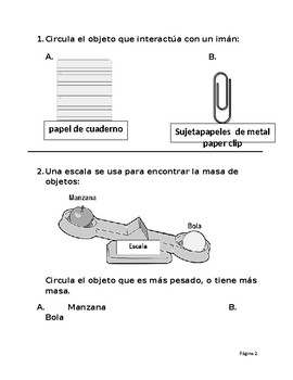 SPANISH * Kinder Science TEKS End-of-Year Assessment * SPANISH