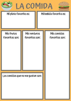 SPANISH LA COMIDA WORKSHEET by Louise Tovey | Teachers Pay ...