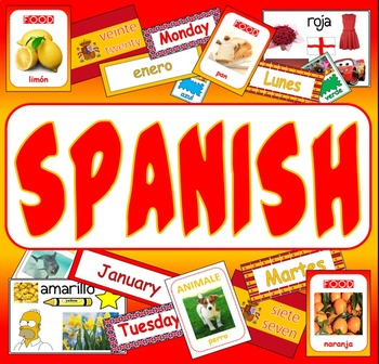 SPANISH LANGUAGE - display posters flashcards colours food numbers day months