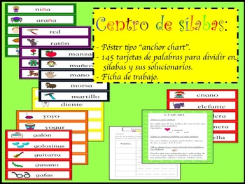 SPANISH LITERACY  SYLLABLE CENTER WORD WALL ANCHOR CHART