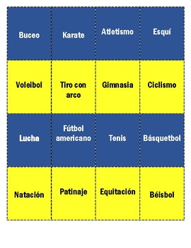 SPANISH: LOS DEPORTES (MEMORY GAME)