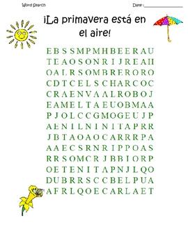 SPANISH La primavera - It's spring!  Word search and KEY