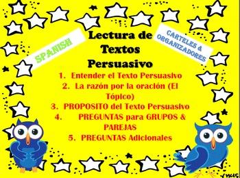 POSTERS in SPANISH-Lectura de textos PERSUADIR y Organizadores