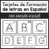 SPANISH Letter Formation Flash Cards with Initial Sound Picture Support