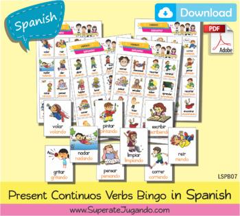 picture regarding Loteria Game Printable called SPANISH Loteria Verbos Gerundio para Imprimir / Printable Frequent Verbs