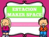 SPANISH MAKER SPACE 12 Task Cards, Banner, Sign, Instructi