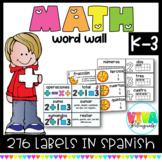 Pared de Palabras Matemáticas   Spanish Math Word Wall K-3