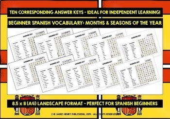 SPANISH MONTHS & SEASONS WORD SEARCHES
