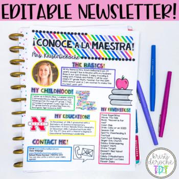 SPANISH- Meet the Teacher Newsletter- EDITABLE- Bright Stripes
