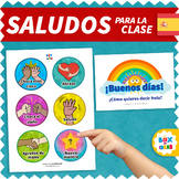 SPANISH Morning Greeting Choices to Enter the Classroom • Poster de Saludos