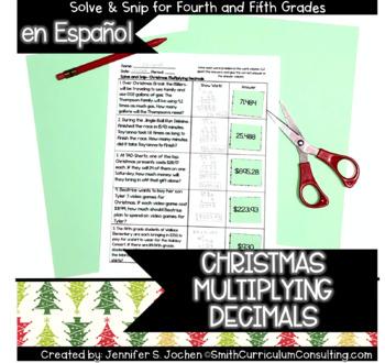 Spanish Multiplying Decimals Christmas Solve and Snip®