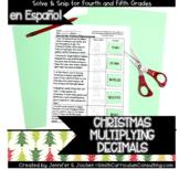 Spanish Multiplying Decimals Christmas Solve and Snip