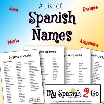 SPANISH NAMES
