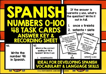 SPANISH NUMBERS 0-100 TASK CARDS