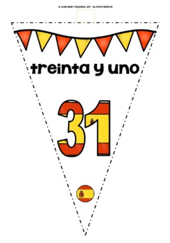 SPANISH NUMBERS 0-31 BANNERS/BUNTING