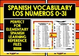 SPANISH NUMBERS 0-31 REFERENCE SHEET