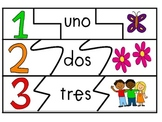 SPANISH Number Card Puzzles (Math station)