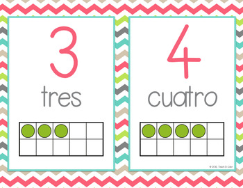 SPANISH Number Posters 0-20 - Ten Frames - Country Cool Teal, Green, Coral, Gray