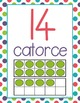 SPANISH Number Posters 0-20 - Dots, Green, Purple, Teal, Red - Ten Frames