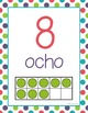 SPANISH Number Posters 0-20 - Dots, Green, Purple, Teal, R