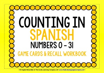 SPANISH FOR CHILDREN - NUMBERS 0-31 - GAME CARDS & RECALL WORKBOOK
