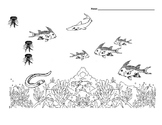 SPANISH Ocean Animals Following Directions Basic Concept Worksheet