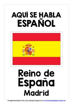 SPANISH & PORTUGUESE-SPEAKING COUNTRIES, CAPITALS & FLAGS FLASHCARDS POSTERS