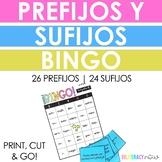 Spanish Prefix and Suffix Bingo Games