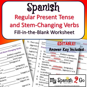 SPANISH PRESENT TENSE AND STEM-CHANGING VERBS FILL-IN-THE-BLANK