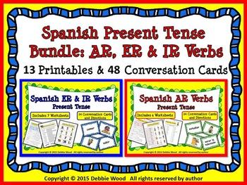 SPANISH PRESENT TENSE VERB BUNDLE: 13 Printables and 48 Co