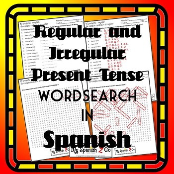SPANISH PRESENT TENSE Fill-in-the-blank and Wordsearch.