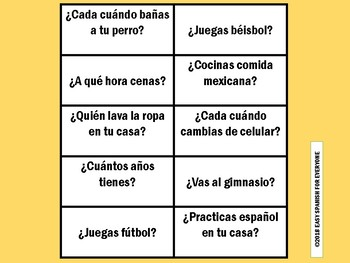SPANISH: PRESENT TENSE (Flash cards-questions)
