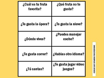 Spanish Present Tense Flash Cards Questions By Easy Spanish For