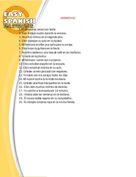 SPANISH: PRESENT TENSE,TRANSLATION EXERCISES.