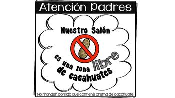 SPANISH Peanut Free Zone