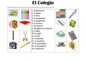 SPANISH - Picture Match - Al Colegio (at school)