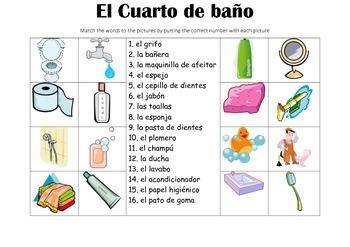 SPANISH - Picture Match - El Cuarto de Baño