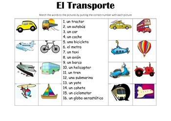 SPANISH - Picture Match - El Transporte