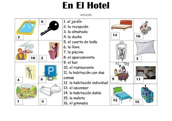 SPANISH - Picture Match - En el Hotel (In the hotel)
