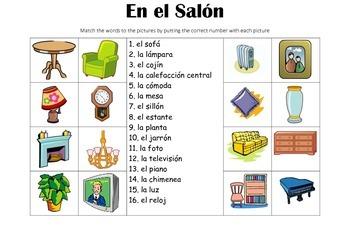 SPANISH - Picture Match - En el Salón (In the living room)