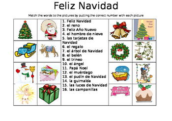 SPANISH - Picture Match - Feliz Navidad (Merry Christmas)