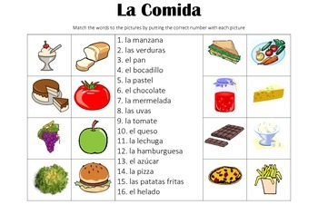 SPANISH - Picture Match - La Comida (Food)