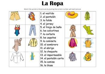 SPANISH - Picture Match - La Ropa (clothes)