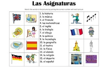 spanish picture match las asignaturas school subjects by resources4mfl. Black Bedroom Furniture Sets. Home Design Ideas