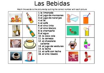 SPANISH - Picture Match - Las Bebidas (Drinks)