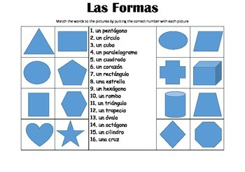 SPANISH - Picture Match - Las Formas(shapes)
