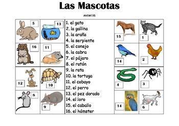 SPANISH - Picture Match - Las Mascotas (Pets)